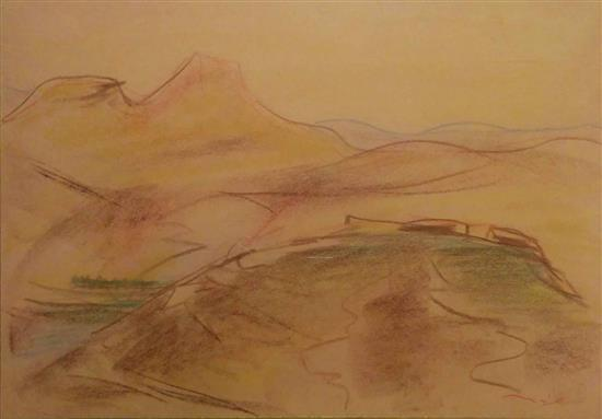 Eliahu Sigard 1901-1975 (Israeli) Landscape color crayons on paper