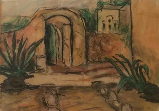 Unidentified Israeli artist Israeli landscape pastel on paper