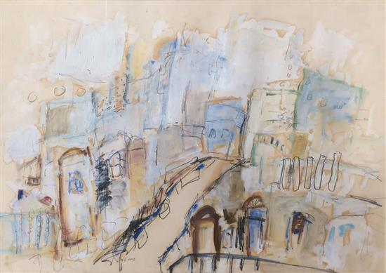 Zahava Lupu b.1948 (Israeli) Jerusalem mixed media on paper