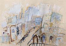 Zahava Lupu b.1948 (Israeli) Jerusalem mixed media on paper