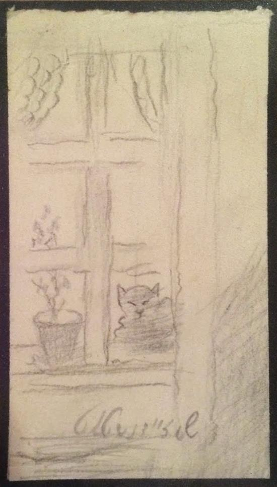 Samuel Zeinstat Cat in the window pencil on paper