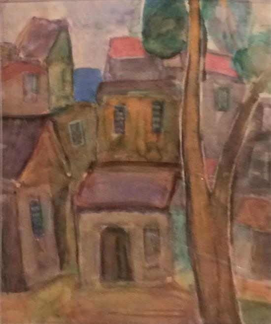 Michael Hashbi 1919-2002 (Israeli) Urban landscape watercolor on paper