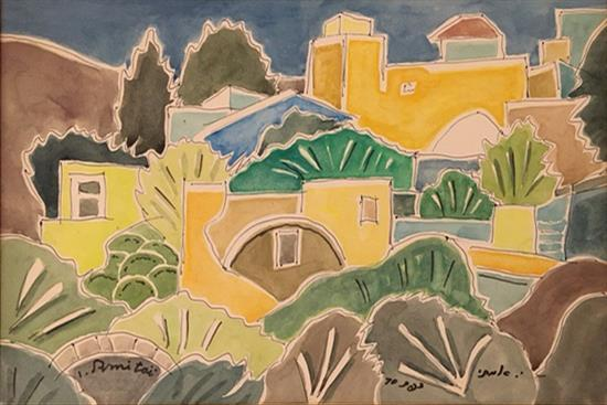 Isaac Amitai 1907-1984 (Israeli) Safed, 1970 watercolor on paper