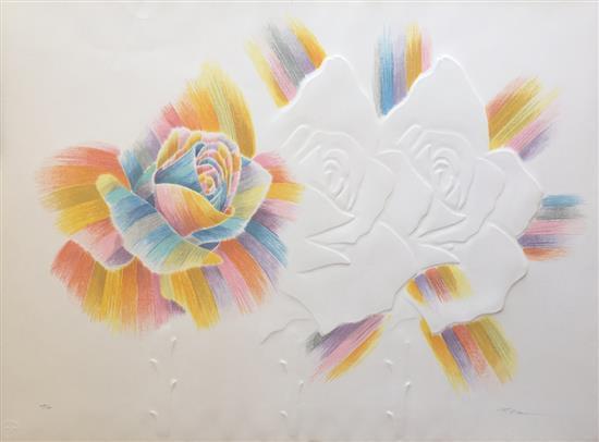 Paul Kor 1926-2001 (Israeli) Flowers embossing silkscreen on paper
