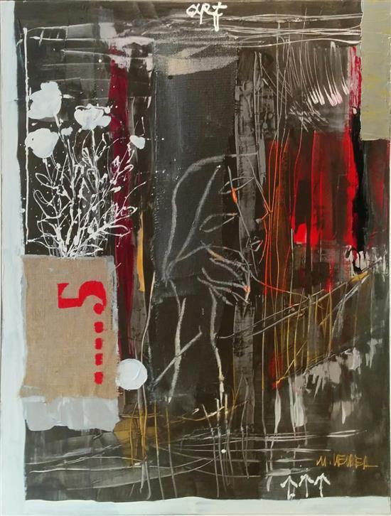 Moshe Leider b.1945 (Israeli) Untitled mixed media on canvas