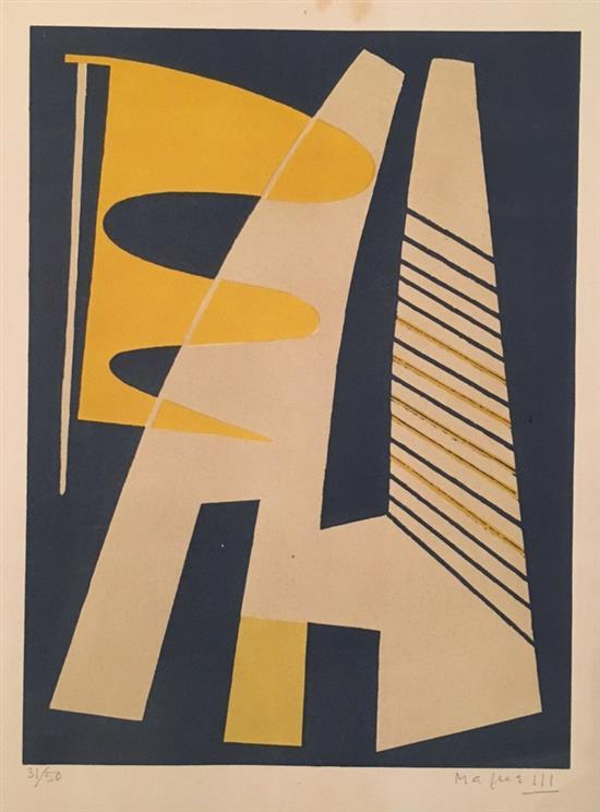 Unidentified artist Abstract composition lithograph