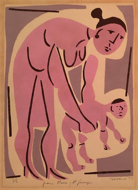 Luםs Seoane 1910-1979 (Argentinian) Mother and child, 1954 lithograph