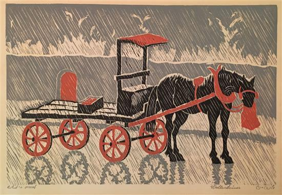 Yehuda Wallersteiner b.1915 (German) Horse and cart woodcut?