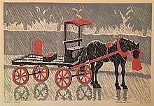 Yehuda Wallersteiner b.1915 (German) Horse and cart woodcut?