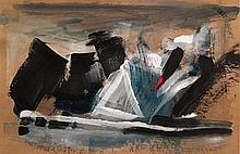 Nurit Shany b.1956 (Israeli) Abstract composition mixed media on paper