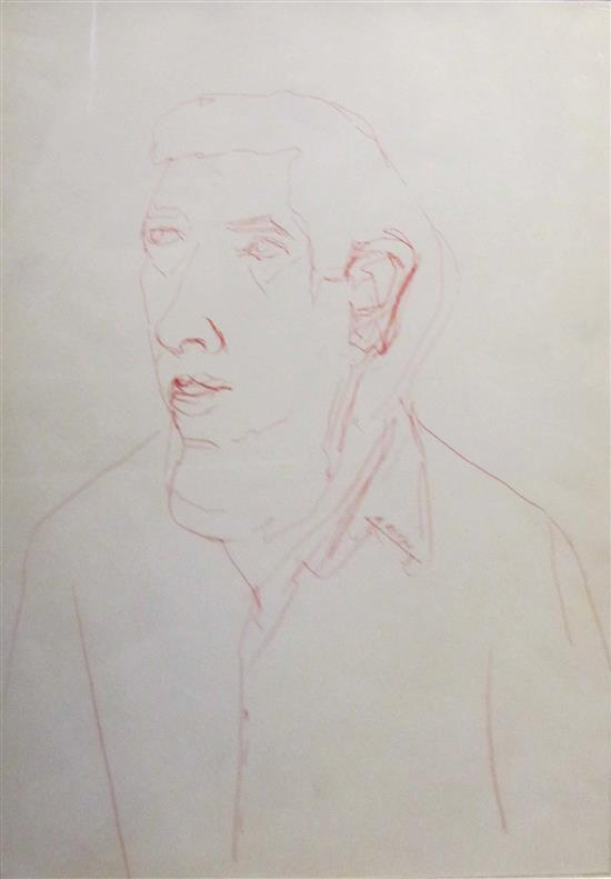 Michael Gross 1920-2004 (Israeli) Portrait pen on paper