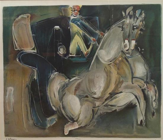 Nachum Gutman 1898-1980 (Israeli) Carriage lithograph