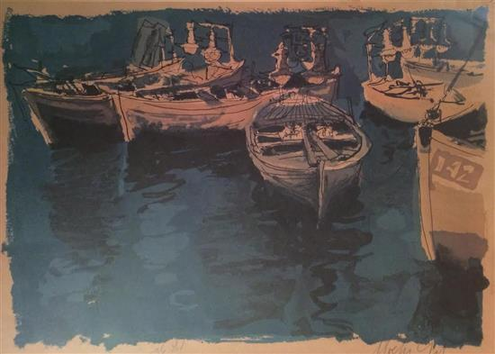 Moshe Gat b.1935 (Israeli) Boats in the port lithograph
