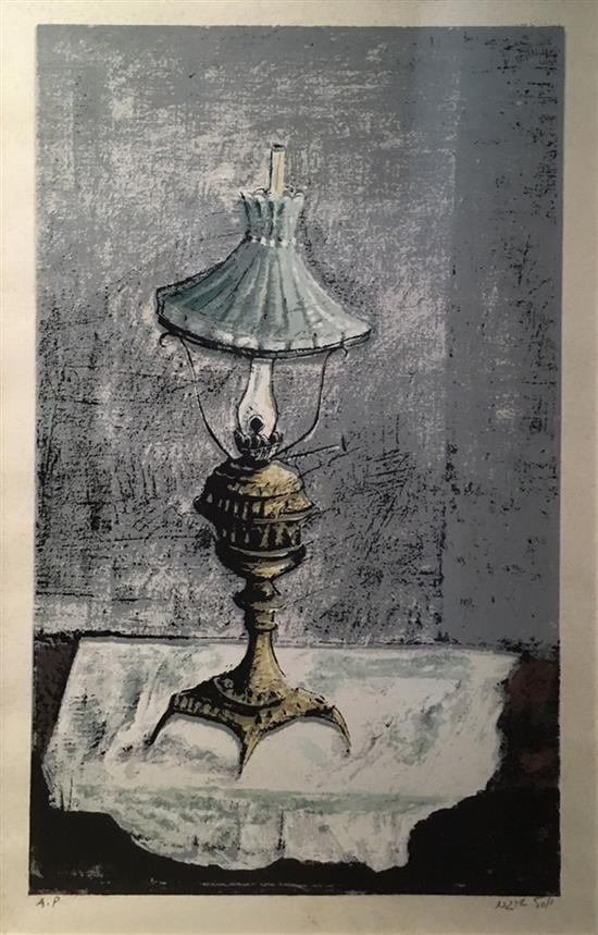 Yosl Bergner b.1920 (Israeli) Lamp lithograph