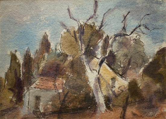 Leo Kahn 1894-1983 (Israeli) Landscape watercolor on paper