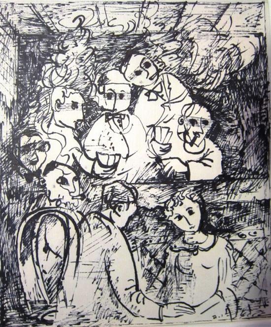 Yosl Bergner b.1920 (Israeli) Card game ink on paper