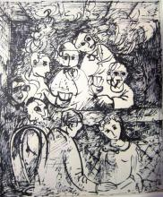 Yosl Bergner b.1920 (Israeli) Card game ink on paper