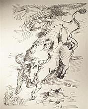 Yosl Bergner b.1920 (Israeli) Bull rider pen on paper