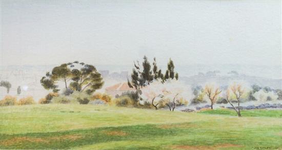 Shmuel Charuvi 1897-1965 (Israeli) Israeli landscape watercolor on paper