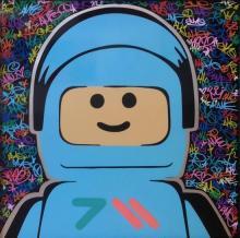 Ame72 b.1972 (British) Lego Aluminum, 2016 acrylic and mixed media on aluminum