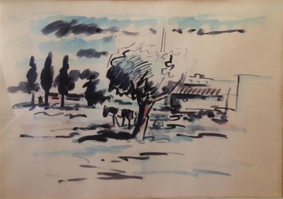 David Hendler 1904-1984 (Israeli) Landscape watercolor on paper