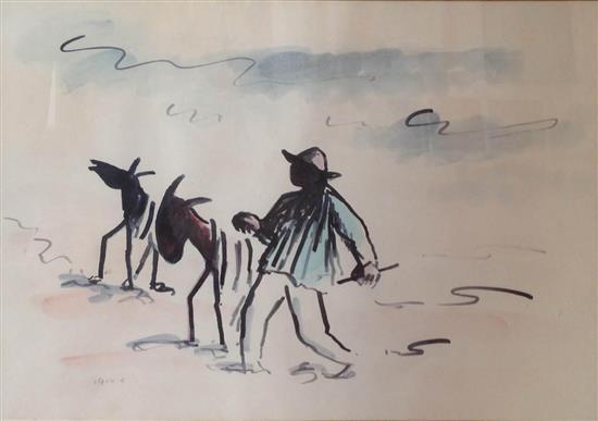 David Hendler 1904-1984 (Israeli) Man leading two donkeys watercolor on cardboard