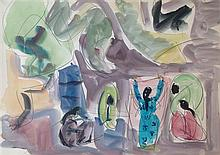 Shimshon Holzman 1907-1986 (Israeli) Laundresses watercolor on paper