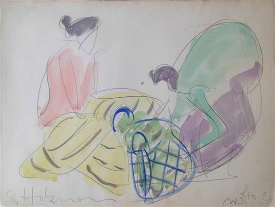 Shimshon Holzman 1907-1986 (Israeli) Women watercolor on paper