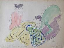 Shimshon Holzman 1907-1986 (Israeli) Women watercolor on paper