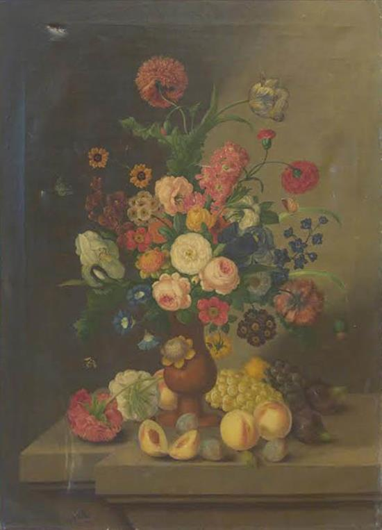 French school Late 19th century Bouquet of flowers with peaches. Condition- small tear upper right quadrant oil on canvas