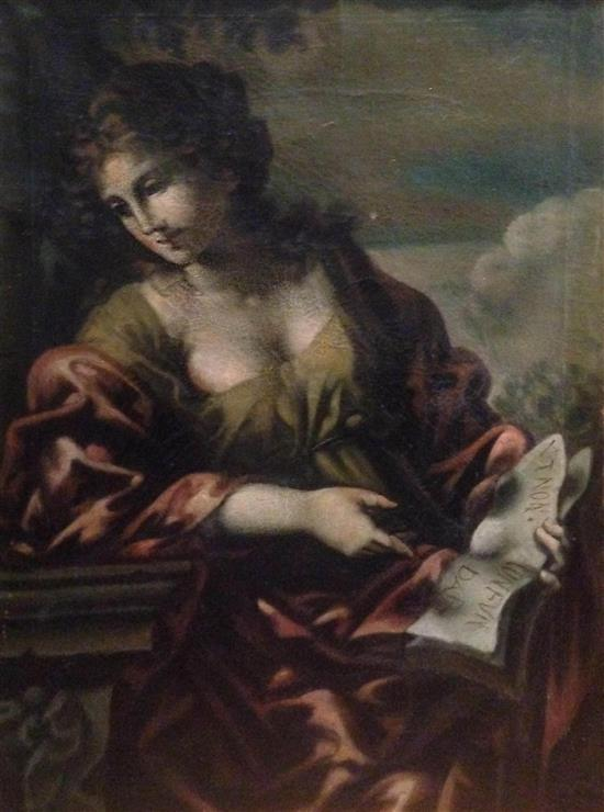 19th century Copy of a painting in the style of Elisabetta Sirani- Lady reading a book oil on canvas