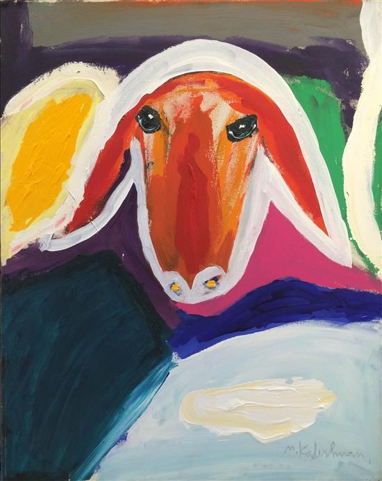 Menashe Kadishman 1932-2015 (Israeli) Sheep head acrylic on canvas