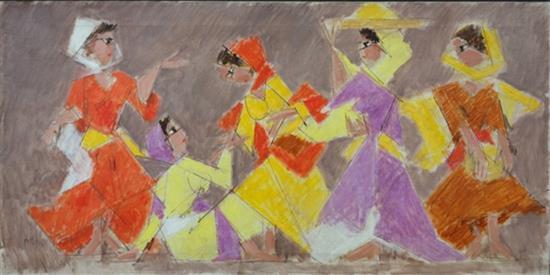 **Arieh Lubin 1897-1980 (Israeli) Five village women, 1970 oil on canvas