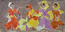 **Arieh Lubin 1897-1980 (Israeli) Five village women, 1970 oil on canvas