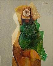 **Jean David 1908-1993 (Israeli) Young woman in green dress, 1977 oil on canvas