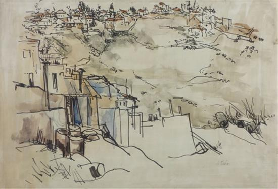 **Anna Ticho 1894-1980 (Israeli) Double sided drawing- Givat Ram, Jerusalem, 1940 (recto); Two figures (verso) mixed media on paper