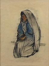 **Anna Ticho 1894-1980 (Israeli) Bedouin woman, 1930 mixed media on paper