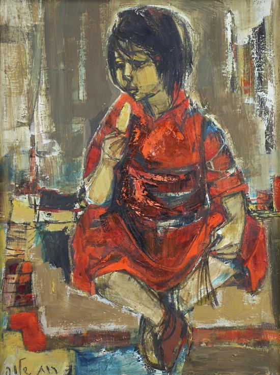 **Ruth Schloss 1922-2013 (Israeli) Girl eating ice cream oil on canvas