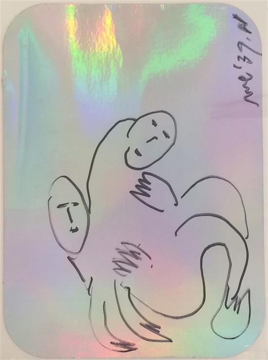 Menashe Kadishman 1932-2015 (Israeli) Double sided drawing felt tip on silver cardboard