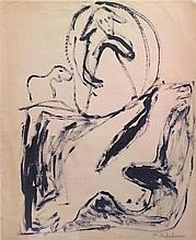 Menashe Kadishman 1932-2015 (Israeli) Vally of sadness acrylic on paper