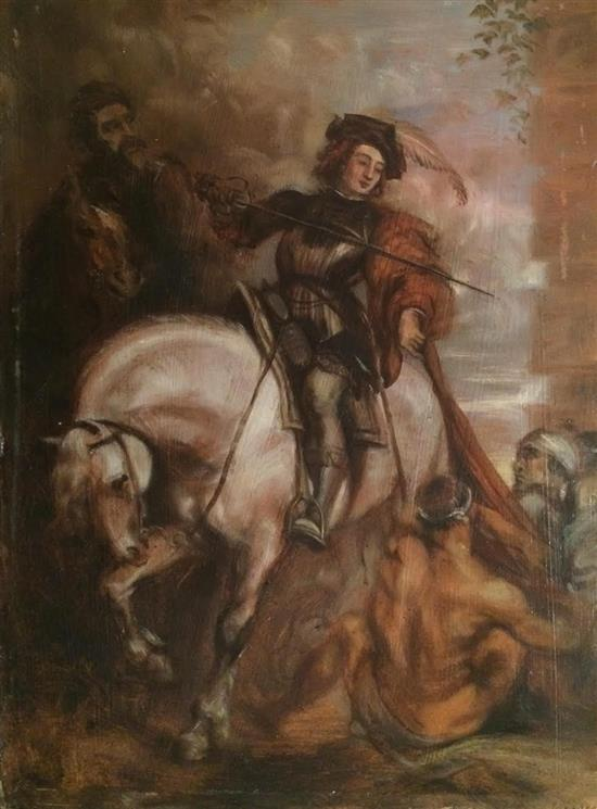 After Van-Dyck Copy of Anthony van Dyck: Saint Martin dividing his cloak (1618) , late 19th c. oil on cardboard