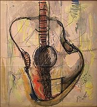 Yehezkel Streichman 1906-1993 (Israeli) Guitar, 1981 mixed media on paper