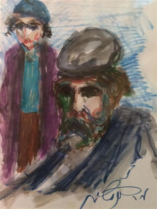 Moshe Bernstein 1920-2006 (Polish) Hassidic child and rabbi watercolor and felt-tip pen on paper
