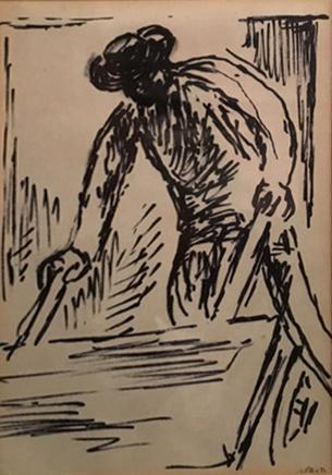 David Hendler 1904-1984 (Israeli) Lot includes 2 drawings pen on paper