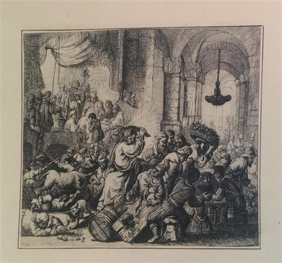 After Rembrandt Harmenszoon van Rijn 1606-1669 (Dutch) Christ driving the money changers from the temple. From a Collection of etchi...