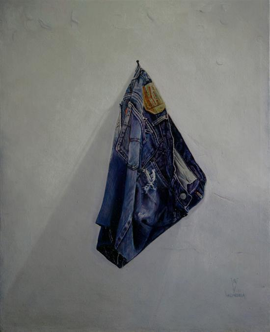 **Gustavo Valenzuela b.1974 (Mexican) The artist's jeans, 2013 oil on wood