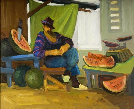 **Avi Schwartz b.1938 (Israeli) The watermelons seller oil on masonite