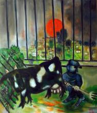 **Leo Roth 1914-2002 (Israeli) Cattle in the barn, 1996 oil on canvas