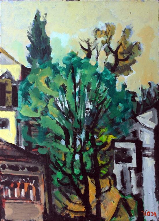 **Yaacov Wexler 1912-1995 (Israeli) Tree in landscape oil on canvas