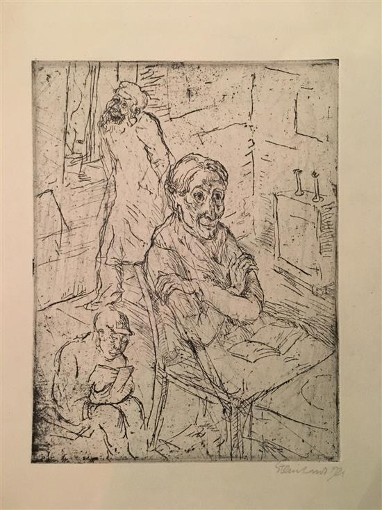 Jakob Steinhardt 1887-1968 (Israeli) Praying etching